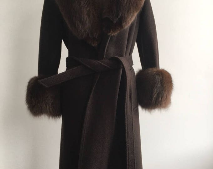 1970s Chocolate Brown Fur Trim Wrap Coat, size medium