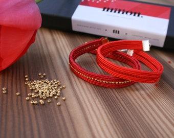 protection bracelet, red bracelet, simple bracelet, soutache bracelet