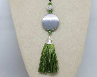 Green Silver Tassel Pendant , Boho Pendant, Beaded Pendant, Pendant Necklace ,Tassel Pendant ,Handmade Jewellery ,Wearable Art ,OOAK,