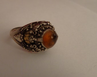 Sterling Silver and Amber Ring size 7 1/2