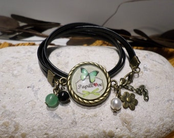 "Bracelet cabochon ""butterfly love - green and bronze"" black leather - retro romantic jewelry - gift women teenager"