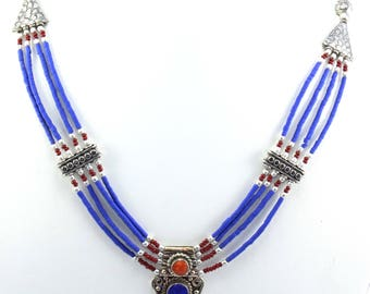 Wow Beautiful !! Lovely Lapis Lazuli And Red Coral Ethnic 21 Inches Long Antique Look Necklace 925 Silver Plated 45.54 Gram Jewelry