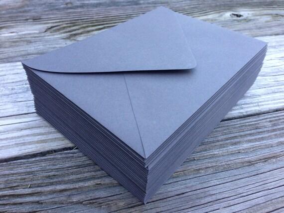 50 Slate Grey A7 5x7 Invitation or A1 4Bar RSVP Pointed Flap