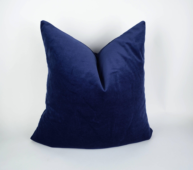 navy velvet pillow cover // blue velvet cushion // navy blue
