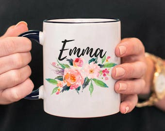 Custom Name Mug, Personalized Mug, Custom Mug, Name Mug, Floral Mug, Personalized Gift, Bridesmaid Gift, Personalized Name, Name Coffee Mug