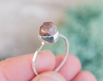 Raw Zircon crystal ring in Sterling Silver, rough Zircon ring