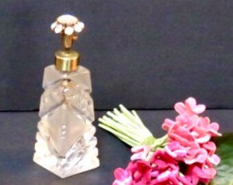 DeVilbiss, Cut Crystal Perfume Bottle with Rhinestone Flower Atomizer, Gifts for Her, Glam Vanity