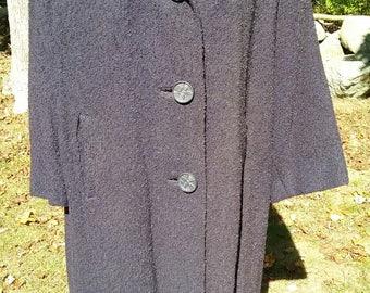 1950s 50s Dark Blue Boucle Dress Coat Plus Size