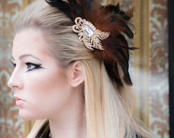 Vintage Inspired Feather Spray