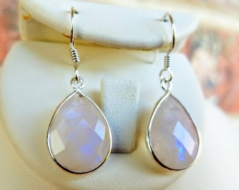 Valentines Gift for her-Rainbow Moonstone Earrings -Moonstone Jewelry-Sterling Silver Earrings - Silver Teardrop Earrings - Bridal Earrings