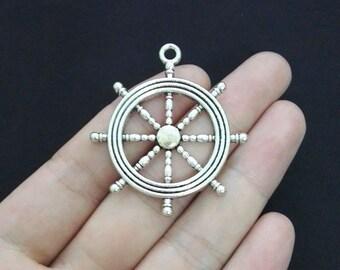 2 Ship Wheel Charms, Antique Silver Tone