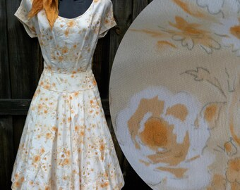 50s 1950s Brushed Cotton Floral full-skirt Dress Orange & peach flowers.
