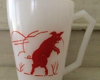 Hazel Atlas Child's Milk Glass Mug Three Little Pigs Nursery Rhymes