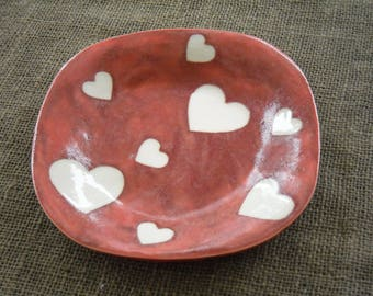 Heart Bowl - Red Pottery - Handmade Pottery -  Wedding Gift - Gift Idea -  Colorful Pottery - Red Bowl - Rustic Pottery