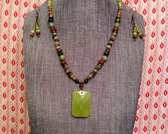 One of a kind natural gemstone beaded necklace, bracelet & earring set