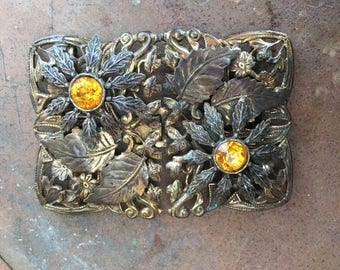 Old Antique 1930's  Brass Two Piece Floral And Amber Rhinestone Buckle Closure Hook 1673