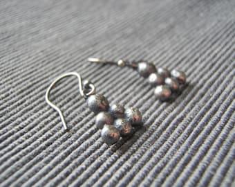 Mini drop earrings (3) bobble texture, oxidized black silver. FREE UK POSTAGE