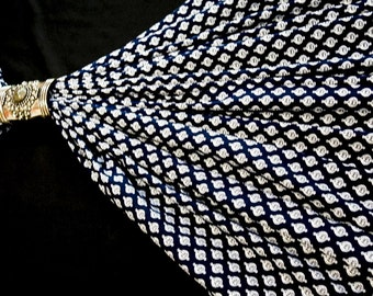 Navy Blue and White Mediallian Print Fabric