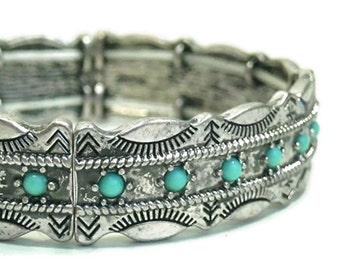 Sale| Turquoise Bangle Bracelet - Stretch Turquoise Bangle Bracelet - Southwest Style Bracelet - Stamped Bracelet - Stacking Bracelet - Boho