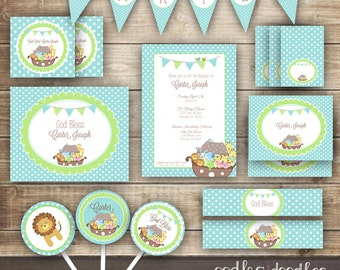 Boy's Baptism Noah's Ark PARTY KIT / Noah's Ark / Baby Boy's Christening or Dedication / Turquoise, Blue & Green Party Kit - Printable