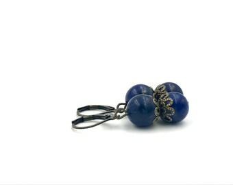 Free Shipping,Blue Lapis Lazuli Earrings,blue lapis lazuli gemstone earrings,lapis lazuli drop earrings,lapis lazuli earrings,lapis jewelry