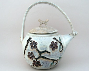 Teapot with Carved Cherry Blossoms, Rutile
