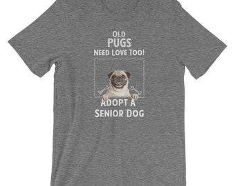 Senior Dog Adoption T-Shirt for Pug Dog Lovers
