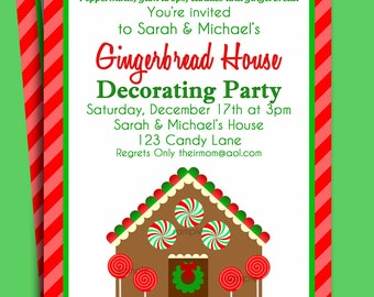 Gingerbread House Invitation Printable - Christmas Party or Holiday Birthday