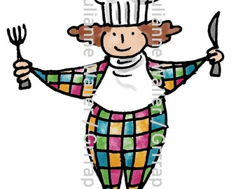 People with Food:  Chef with cutlery digital printable clipart