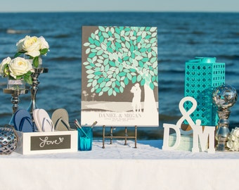 Wedding Guestbook Wall Art, Wedding Guestbook Home decor, Canvas or Art Print Skyline Silhouette // 50+ Signature Guestbook // W-T05-1PS HH3