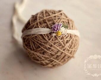 Yellow and Purple Silk Tieback. Baby Headband, Photography Prop, Freshwater Pearl, Lace Photo Prop, Cream, Lavender, Lemon,