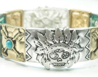Sugar Skull Bracelet - Southwest - Stretch - Day of the Dead - Dia de los Muertos - Metal Sugar Skull Bracelet - Turquoise - Arrows