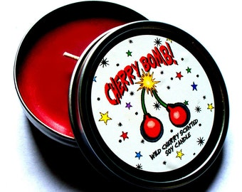Cherry Bomb! Cherry Scented Vegan Soy Candle Tin