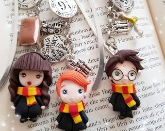 Harry Potter bookmark marker fimo clay snape,hermione,ron weasly draco,bellatrix,sirius black,dobby elf lovegood gift for book lovers