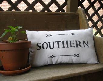 Pillow - Southern - Arrows - Lettering - Farmhouse - Farmhouse Pillow - Farmhouse Decor - Rustic - Rustic Decor - 12x22 in