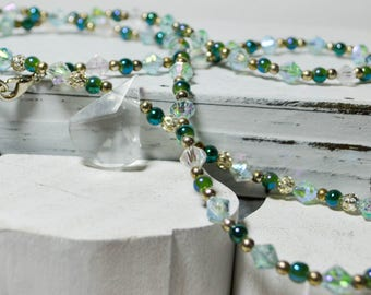 Beaded prism pendant necklace