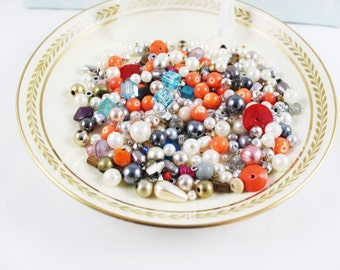 Mixed Beads, 100s of Beads, Bag of Beads, Orange, Blue, Faux Pearl Beads, Craft Supplies, Jewellery Making Beads
