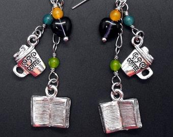 Book Coffee Themed Dangle Earrings