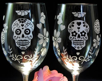 2 Day of the Dead Wedding Wine Glasses,  Dia De Los Muertos, Sugar Skull, Calavera Wedding Glasses