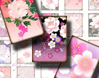 Spring in Japan (2) Digital Collage Sheet  with Flower Blossoms in dominant Pink - 30x40mm - 1.18x1.57in for jewelry, craft