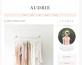 "Wordpress Theme Premade Blog Template Design - ""Audrie"" Instant Digital Download"