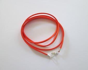 80 cm base de collier cordon suédine mandarine et fermoir métal argenté