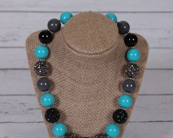 Turquoise, black, and grey chunky bead necklace