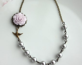Lavender Lilac Purple Rose Flower Bird, Silver Grey Pearls. Maid of Honor, Bridesmaids Gifts.Wedding Jewelry Bridesmaid Necklaces Jewelry