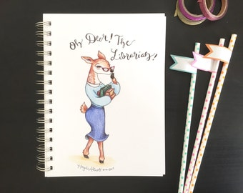 Oh Deer! The Librarian! 8x10 Illustration - Print