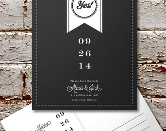DIY Printable Wedding Save The Date OR Full Service Printing Wedding Announcement Black Chalkboard Ribbon Wedding Postcard