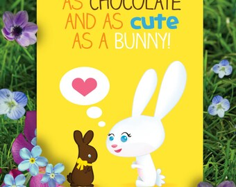 Printable Fun & Bright Easter Note Card     Easter Bunny with a Chocolate Bunny     Illustrated Card