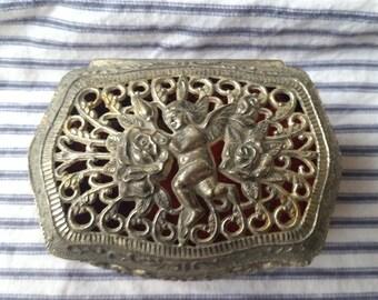 Vintage Japan angel cherub metal trinket dresser box jewelry casket box  silvertone Shabby Romantic N7
