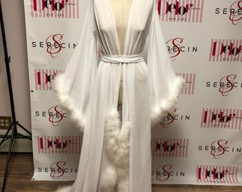 Heavenly', Chiffon Dressing gown robe with marabou fur (ALL COLORS)