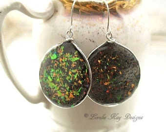 Colorful Cast Resin Hoop Earrings Fire Opal Look Resin Sterling Earrings Lorelie Kay Original